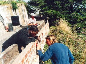 The historic trough planter being repaired in 2005.